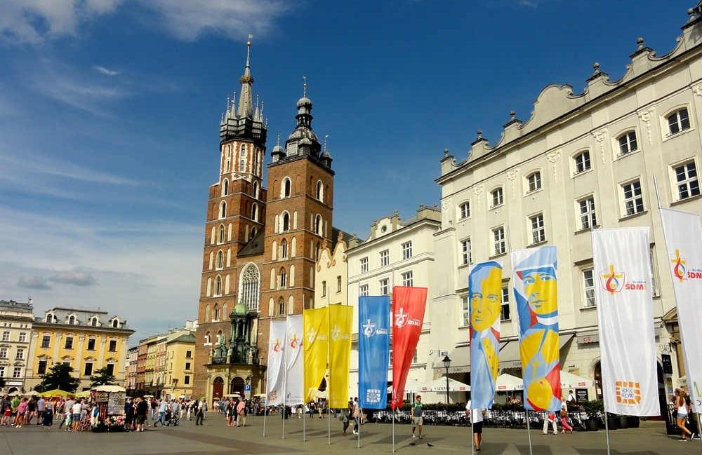 Hauptmarkt und Marienkirche in Krakau